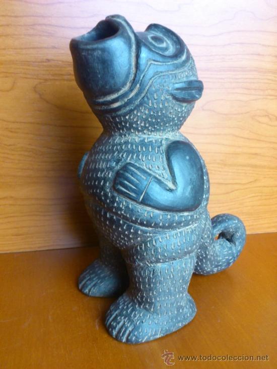 Arte: Sahumador de terracota negra ( Mono Andino Indigena ) sellado, S.XIX - Foto 18 - 37287913