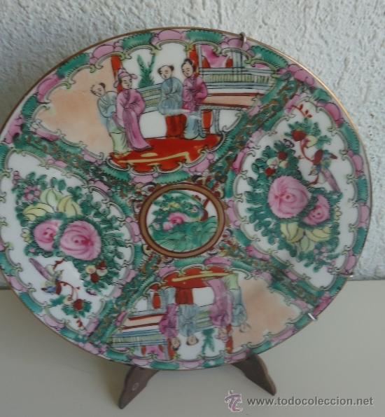 ANTIGUO PLATO DE PORCELANA ORIENTAL REALIZADO EN MACAU CHINA 23CM (Arte - Étnico - Asia)