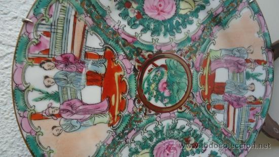 Arte: Antiguo plato de porcelana oriental realizado en Macau China 23cm - Foto 2 - 37644578