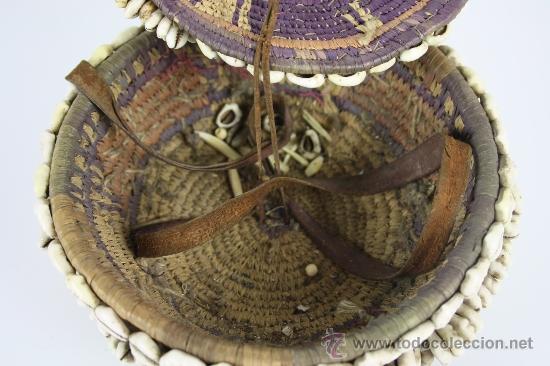 Arte: CAJA EN MIMBRE Y CONCHAS AFRICANA MED S XX. - Foto 4 - 38343791