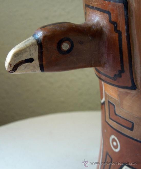 Arte: GRAN VASO RITUAL BOLIVIANO- BARRO COCIDO CON ESCULTURA DE CABEZA ANIMAL ALADO Y - Foto 3 - 38616606
