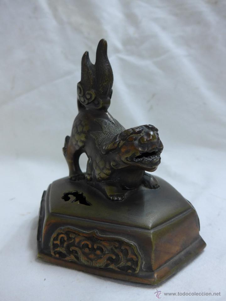 Arte: Preciosa quimera oriental en bronce, antigua, de principios s.XX. China - Foto 2 - 47643879