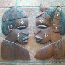 Arte: PAREJA DE CARAS AFRICANAS ANTIGUAS DE MADERA DE GRAN TAMAÑO CON INCRUSTACIONES DE MARFIL. Lote 40188993