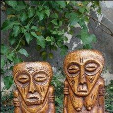 Arte: ANTIGUA PAREJA ESCULTURAS TALLAS TRIBALES AFRICANAS PIE DE ELEFANTE COSTA DE MARFIL. Lote 41803037
