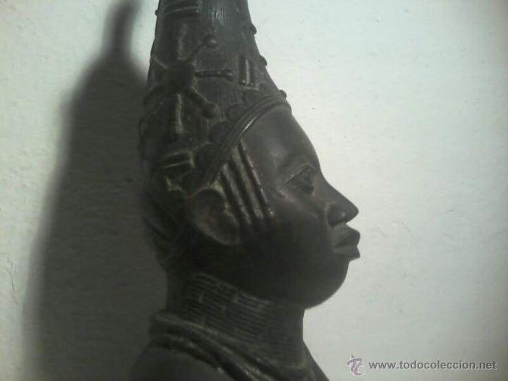 Arte: BUSTO CABEZA BRONCE BENIN NIGERIA PERSONAJE REAL - Foto 7 - 42443573