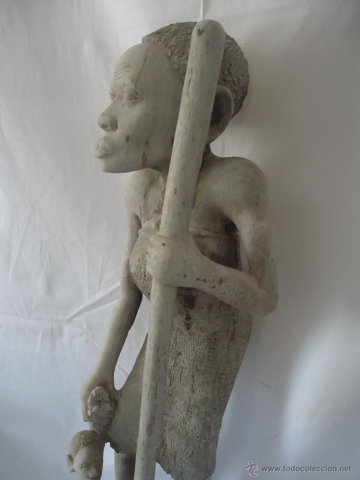 Arte: GRAN ESCULTURA FIGURA MUJER AFRICA MADERA TALLADA Y TRATADA - Foto 4 - 42517137