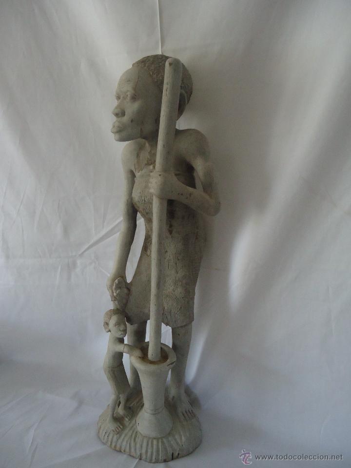Arte: GRAN ESCULTURA FIGURA MUJER AFRICA MADERA TALLADA Y TRATADA - Foto 5 - 42517137