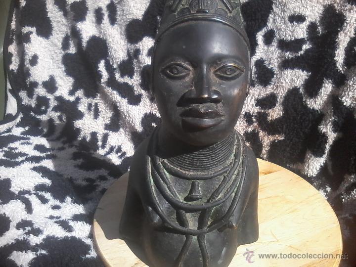 BUSTO CABEZA BRONCE BENIN NIGERIA PERSONAJE REAL (Arte - Étnico - África)