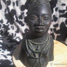 Arte: BUSTO CABEZA BRONCE BENIN NIGERIA PERSONAJE REAL. Lote 42443573