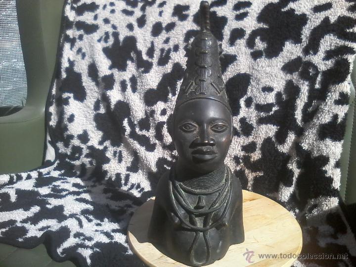 Arte: BUSTO CABEZA BRONCE BENIN NIGERIA PERSONAJE REAL - Foto 2 - 42443573