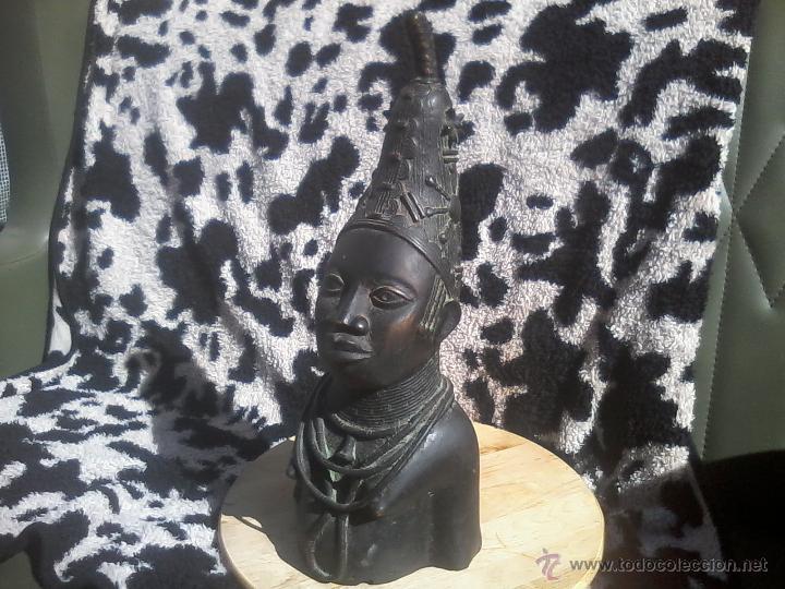 Arte: BUSTO CABEZA BRONCE BENIN NIGERIA PERSONAJE REAL - Foto 3 - 42443573
