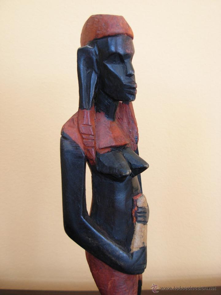 Arte: Talla de madera policromada africana - Foto 4 - 44103226