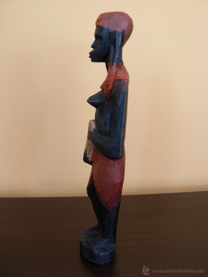 Arte: Talla de madera policromada africana - Foto 5 - 44103226