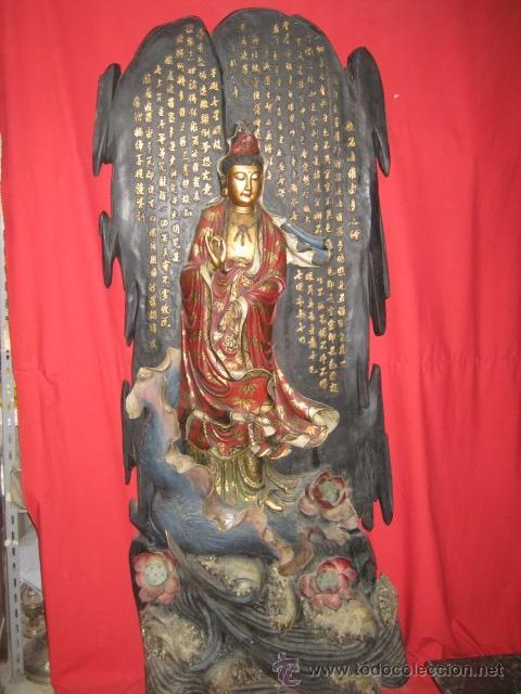 KWAN YIN. ESPECTACULAR PIEZA DE MADERA TALLADA Y PINTADA CHINA. (Arte - Étnico - Asia)