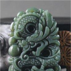 Arte: COLGANTE DRAGÓN CHINO JADE NATURAL VERDE OSCURO TALLADO A MANO. Lote 45037967