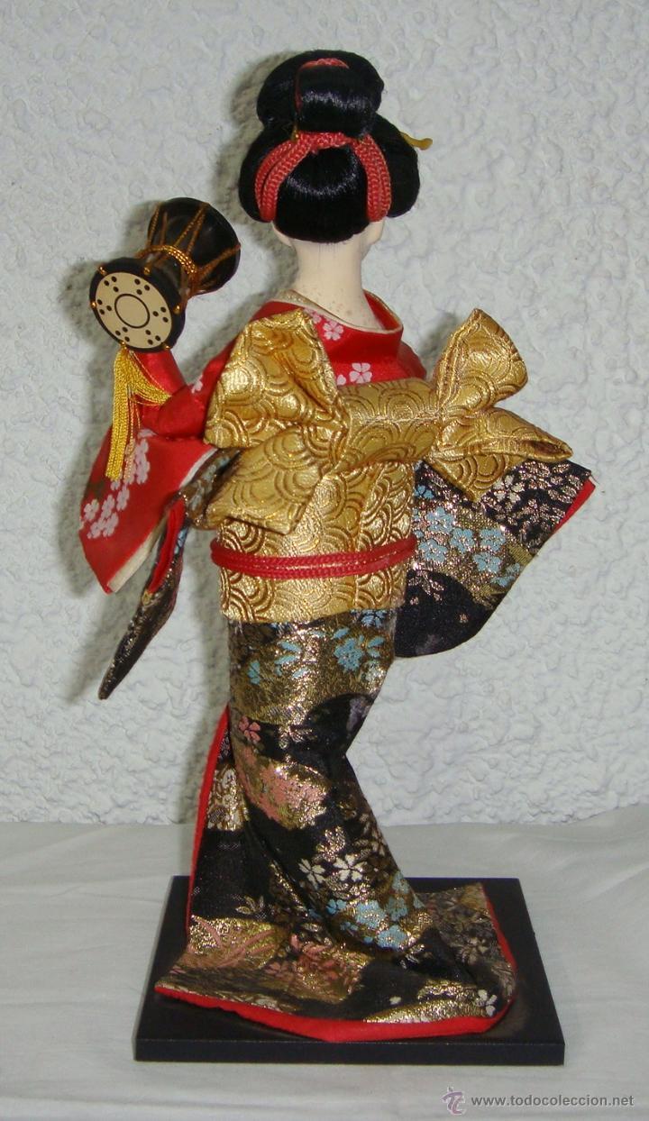 Arte: Antigua Muñeca Geisha. Cuerpo en Pasta de Ostras y Ojos en Cascaras de Vidrio. 31 cm de Altura. - Foto 4 - 45638830