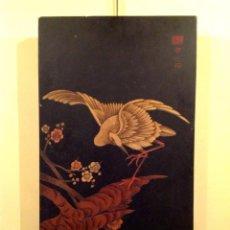 Arte: ANTIGUA PINTURA JAPONESA SOBRE MADERA PAISAJE FIRMADA. Lote 46317174