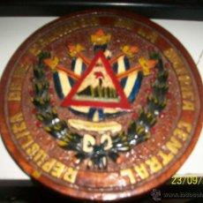 Arte: TABLILLA REDONDA TALLADA Y PINTADA A MANO. REPUBLICA DE EL SALVADOR EN LA AMERICA CENTRAL. 1821.. Lote 46319543