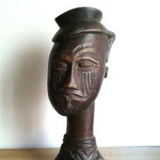 Arte: FANTASTICO BUSTO AFRICANO DE MADERA NOBLE 28 X 10 CMTRS.. Lote 46507786