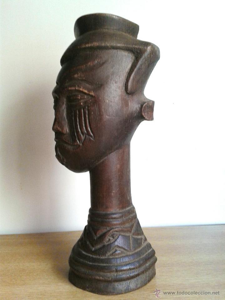 Arte: fantastico busto africano de madera noble 28 x 10 cmtrs. - Foto 2 - 46507786