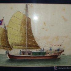 Arte: ANTIGUO PAPEL DE ARROZ CHINO. S.XVIII-XIX. ACUARELA. MARCO MODERNO.. Lote 46668585