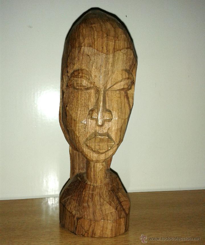 BUSTO FIGURA MADERA AFRICANA TALLADA 18 X 6 CMTRS. (Arte - Étnico - África)