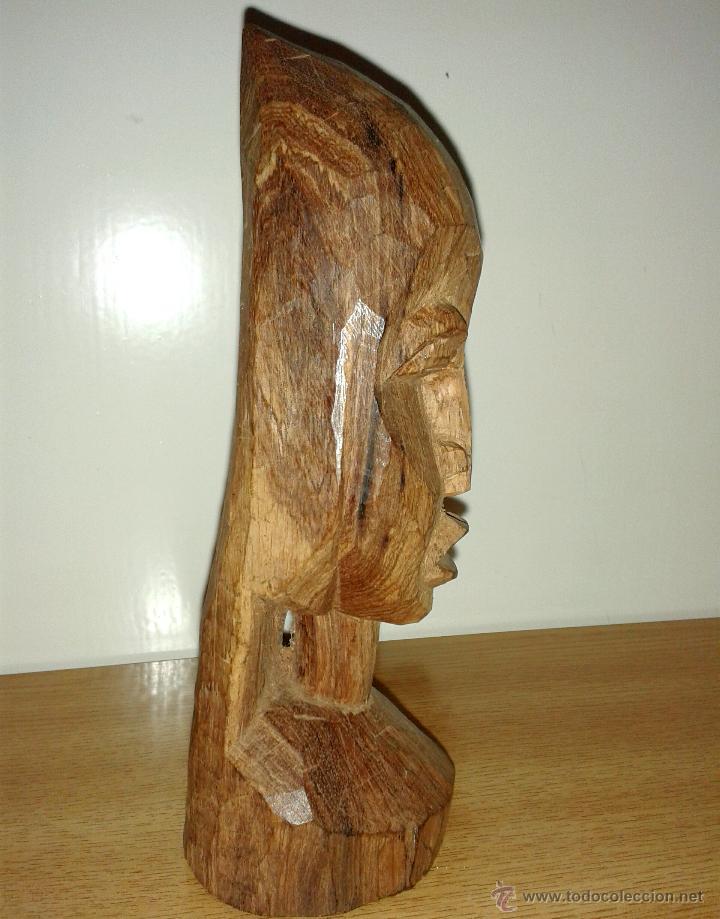 Arte: busto figura madera africana tallada 18 x 6 cmtrs. - Foto 2 - 46708182