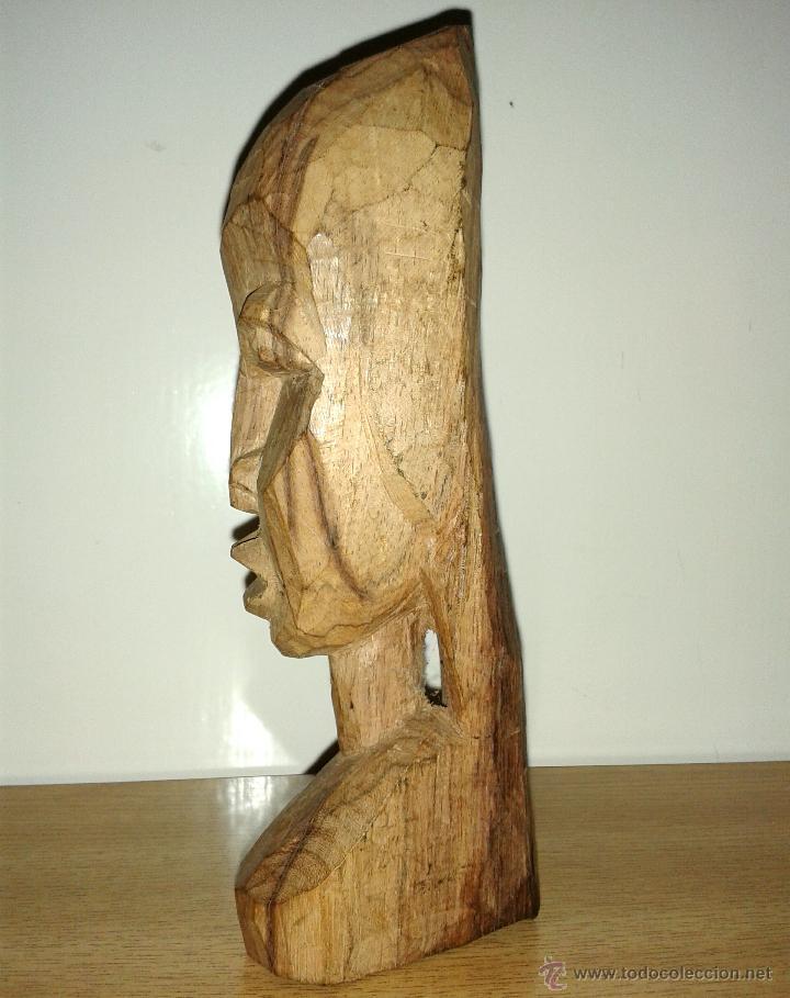 Arte: busto figura madera africana tallada 18 x 6 cmtrs. - Foto 3 - 46708182