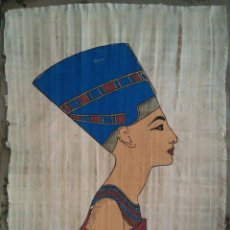 Arte: ANTIGUO PAPIRO DE EGIPTO GRAN ESPOSA REAL NEFERTITI PINTADO A MANO POR ARTESANOS EGIPCIOS. Lote 46947760