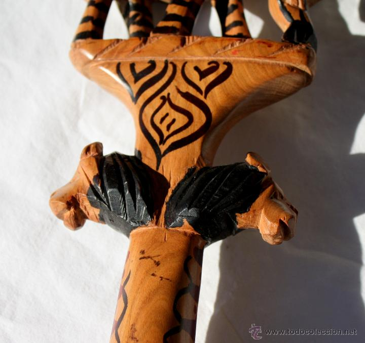 Arte: BASTON AFRICANO- CETRO DE MADERA TALLADA A MANO - Foto 7 - 47346448