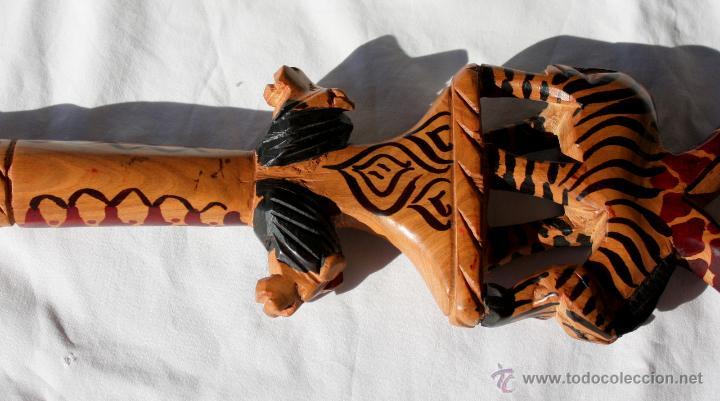 Arte: BASTON AFRICANO- CETRO DE MADERA TALLADA A MANO - Foto 13 - 47346448