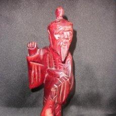 Arte: FIGURA ORIENTAL TALLA SABIO CHINO MADERA NOBLE CHINA, ANCIANO PESCADOR 25,5 CM. Lote 47376778