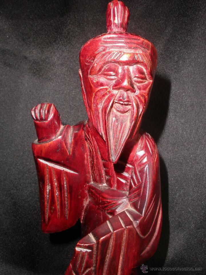 Arte: FIGURA ORIENTAL TALLA SABIO CHINO MADERA NOBLE CHINA, ANCIANO PESCADOR 25,5 cm - Foto 2 - 47376778