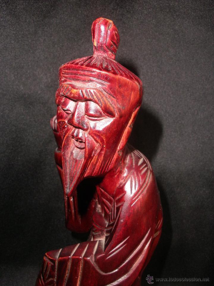 Arte: FIGURA ORIENTAL TALLA SABIO CHINO MADERA NOBLE CHINA, ANCIANO PESCADOR 25,5 cm - Foto 4 - 47376778