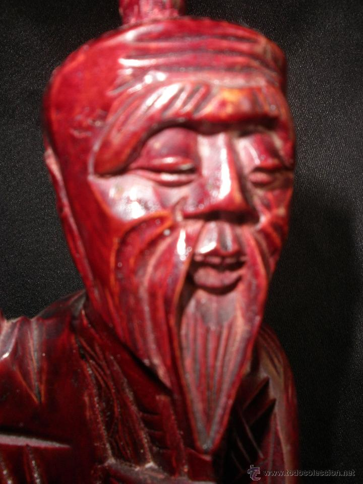 Arte: FIGURA ORIENTAL TALLA SABIO CHINO MADERA NOBLE CHINA, ANCIANO PESCADOR 25,5 cm - Foto 8 - 47376778