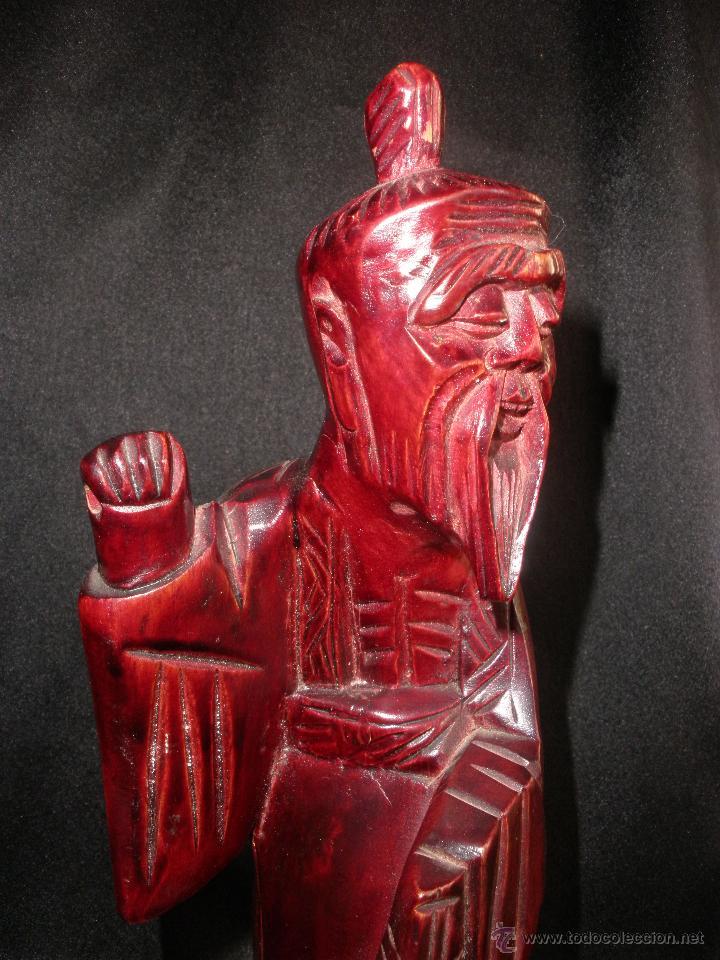 Arte: FIGURA ORIENTAL TALLA SABIO CHINO MADERA NOBLE CHINA, ANCIANO PESCADOR 25,5 cm - Foto 9 - 47376778