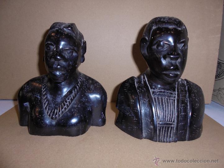 (M) ANTIGUA PAREJA DE FIGURAS DE MADERA DE EBANO AFRICANO 18X16X9 CM. VER FOTGR. ADICIONALES (Arte - Étnico - África)