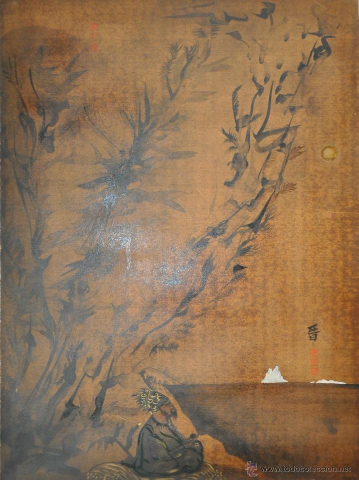ACUARELA ORIGINAL JAPONESA PAISAJE FIRMADO (Arte - Étnico - Asia)