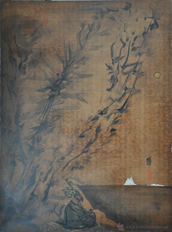 Arte: ACUARELA ORIGINAL JAPONESA PAISAJE FIRMADO - Foto 6 - 48871642