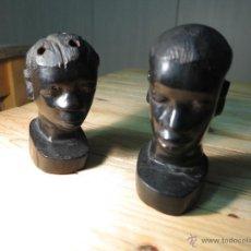 Arte: ARTE AFRICANO: PAREJA DE BUSTOS AFRICANOS EN EBANO. Lote 49281481