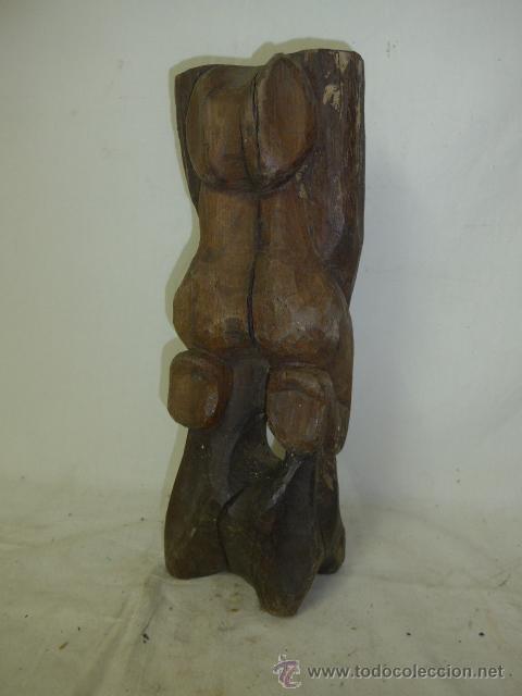 ANTIGUA ESCULTURA FETICHE AFRICANA DE MADERA TALLADA, AFRICA (Arte - Étnico - África)