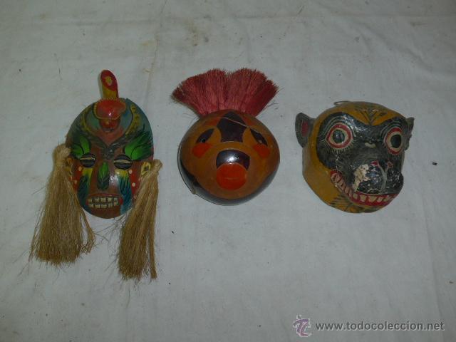 LOTE DE 3 ANTIGUA MASCARA DE AMERICA LATINA (Arte - Étnico - América)