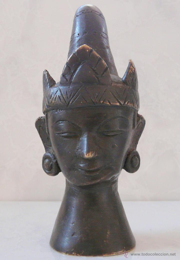 ANTIGUA CABEZA DE BRONCE ASIA DE SURESTE - SIGLO XIX (Arte - Étnico - Oceanía)