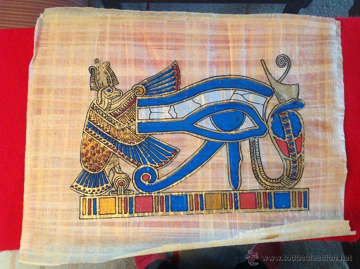 PAPIRO ORIGINAL COMPRADO EN EL CAIRO, EGIPTO 44X34 CM. (Arte - Étnico - África)