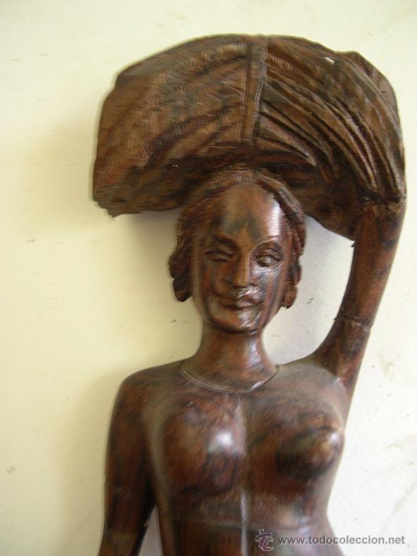 Arte: FIGURA AFRICANA TALLADA EN MADERA - Foto 2 - 50130524