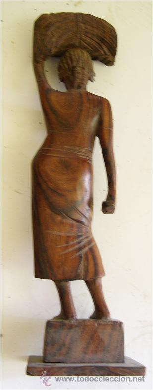 Arte: FIGURA AFRICANA TALLADA EN MADERA - Foto 3 - 50130524