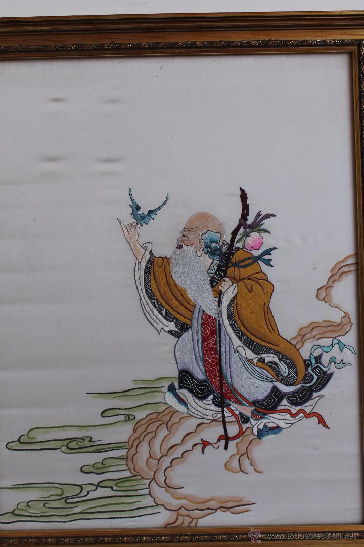 Arte: BORDADO SOBRE SEDA SABIO CHINO - Foto 2 - 50186615