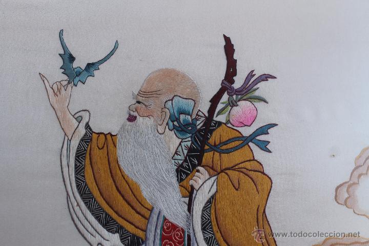 Arte: BORDADO SOBRE SEDA SABIO CHINO - Foto 3 - 50186615