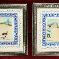Arte: PAREJA DE GOUACHES SOBRE CELULOIDE CON ESCENAS CHINAS Y MARCOS TIPO TARACEA. CIRCA 1940. Lote 50331609