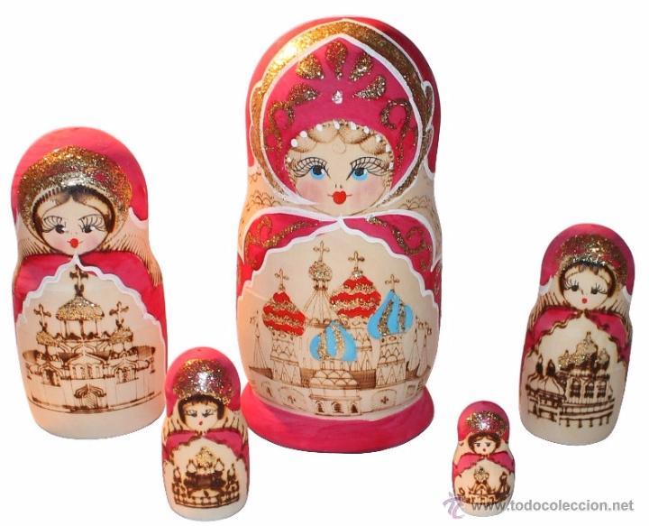 ANTIGUAS MUÑECAS RUSAS DE MADERA MATRIUSKAS 5 PIEZAS IMPORTADAS DE RUSIA AÑOS 60 PINTADAS A MANO (Arte - Étnico - Europa)